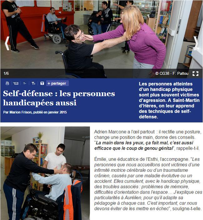 Cours de self-défense pour des personnes en situation de handicap