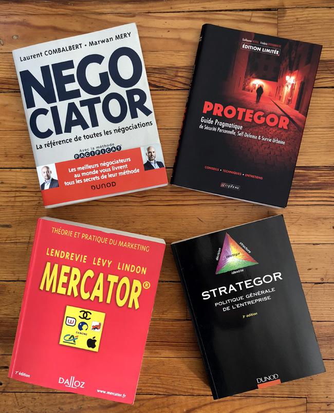 Quatre livres en or : Negociator, Protegor, Mercator, Strategor