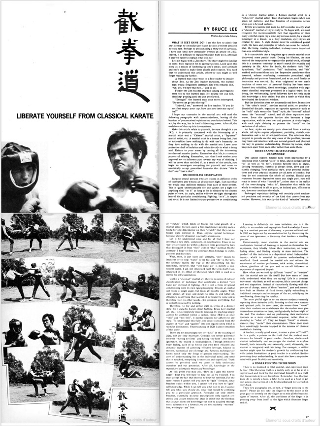 """""""Liberate yourelf from classical karate"""" by Bruce Lee (Black Belt Magazine, September 1971)"""
