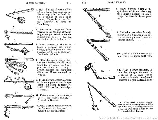 Pages 445 & 446 du Guide des Amateurs d'Armes & Armures de 1869, sur les fléau d'armes