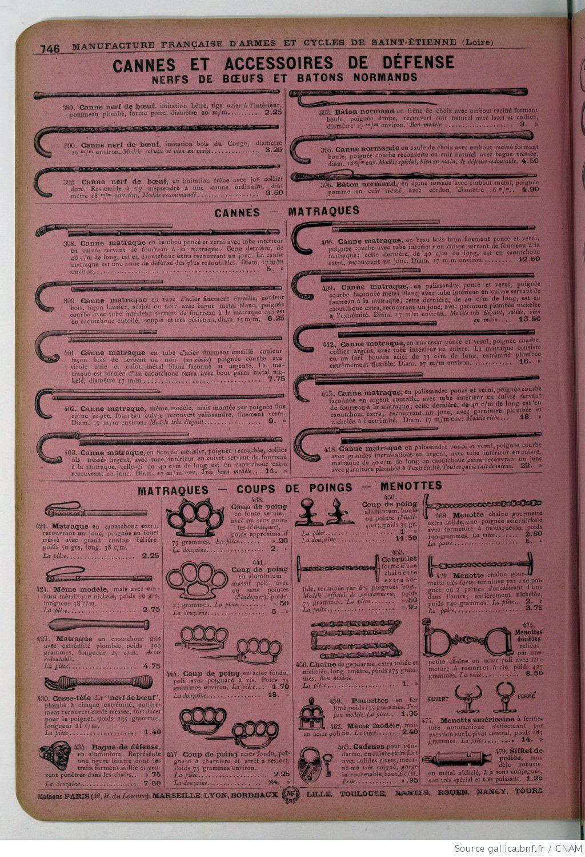 Page 746 du catalogue de la Manufacture de Saint-Etienne de 1914 avec une sélection de matraques