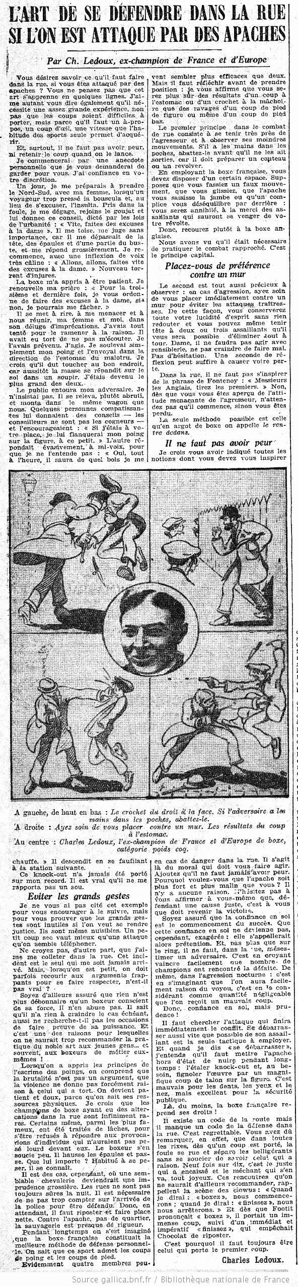 """L'article """"l'art de se défendre dans la rue si l'on est attaqué par des apaches"""" publié dans le Petit Journal le 12/09/1925"""