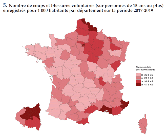 Nombre de coups et blessures volontaires (sur personnes de 15 ans ou plus) enregistrés pour 1 000 habitants par département sur la période 2017-2019